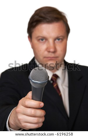 Journalist with microphone, isolated on white background - stock photo