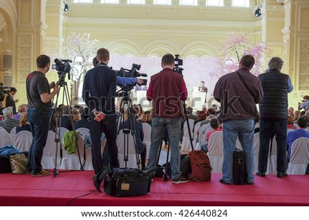 journalists on the press conference  - stock photo