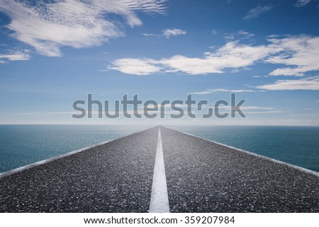 journey concept with long road with blue sea and blue sky illustration - stock photo