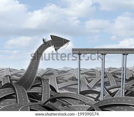Journey success business concept as a businessman guiding a road arrow out of chaos to connect with a straight bridge as a metaphor for leadership and the determined courage of individualism. - stock photo
