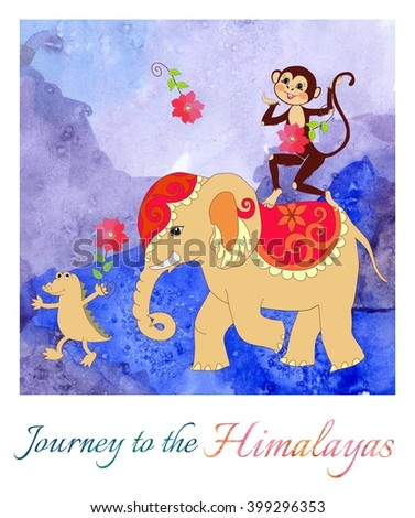 Journey to the Himalayas. Beautiful card with cute monkey, elephant and small crocodile on watercolor background. Cartoon illustration.