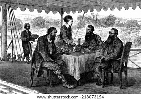 Journey to the sources of the Nile. This meal was the great joys of the four English, vintage engraved illustration. Journal des Voyage, Travel Journal, (1880-81). - stock photo