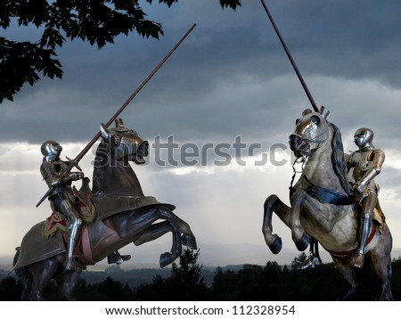 Joust between two knights on horseback