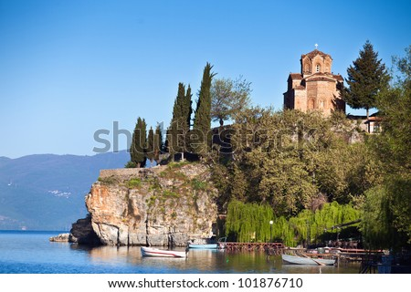 Jovan Kaneo Church in Morning Light at Lake Ohrid, Macedonia. - stock photo