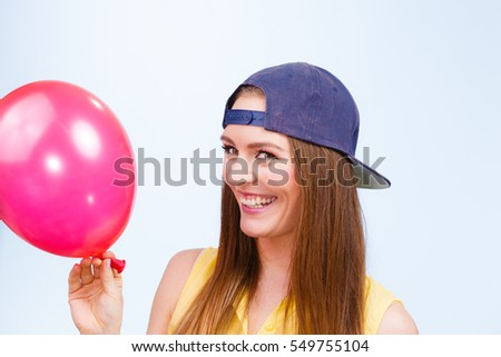 Beauty Smiling Teenage Girl With Red Pink Balloon Young Charming Trendy