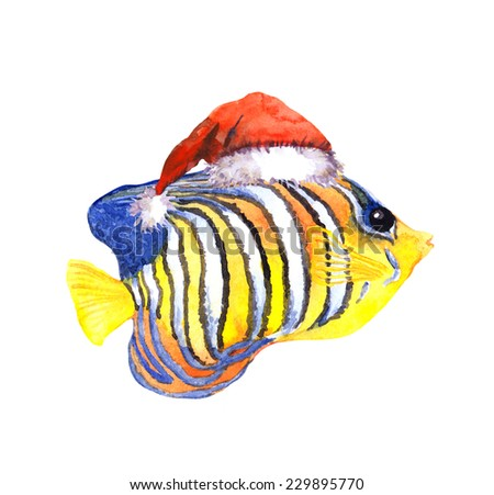 Joy character christmas exotic tropical fish in red santa's hat. Water colour