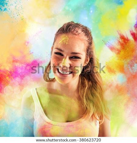 Joy colored powders - stock photo