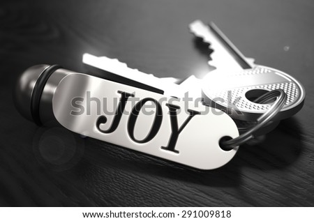 JOY Concept. Keys with Keyring on Black Wooden Table. Closeup View, Selective Focus, 3D Render. Black and White Image. - stock photo