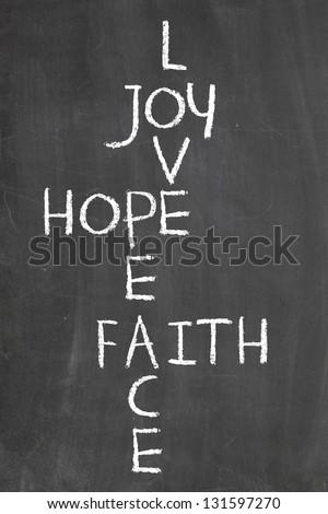 Joy, Love, Hope, Peace and Faith - stock photo