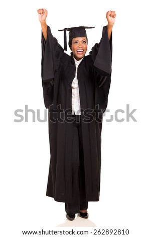 joyful african american female university graduate arms up isolated on white - stock photo
