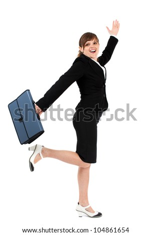 Joyful and cheerful businesswoman with briefcase isolated on white background - stock photo