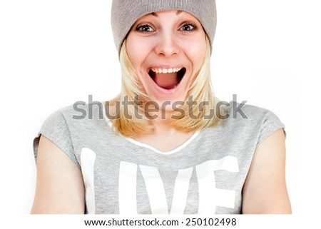 Joyful , beautiful girl laughs. Isolated on a white background.