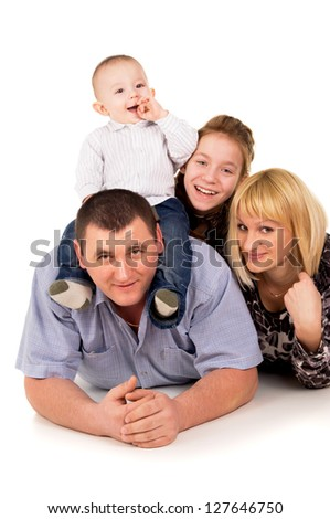 joyful big family posing isolated on white background - stock photo