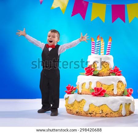 Joyful birthday greets guests - stock photo
