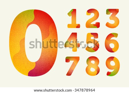 Joyful Bright numbers. With noise. Set. Zero 0 One 1 Two 2 Three 3 Four 4 Five 5 Six 6 Seven 7 eight 8 nine 9. - stock photo