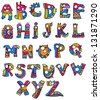Joyful Cartoon font - from A to Z, monster hand drawn letter, funny Alphabet for Design - stock photo