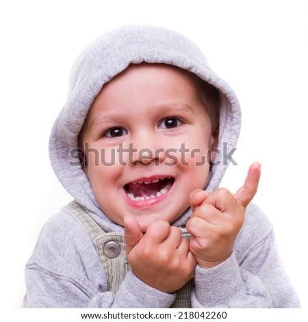 joyful child expression - isolated - stock photo