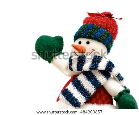 Joyful Christmas snowman on white background. Christmas decoration.See my Portfolio for more.