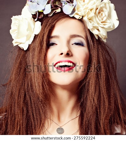 Joyful Fashion Model Woman with Makeup - stock photo