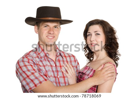 Joyful girl and a guy in a stetson. Isolated on white. - stock photo