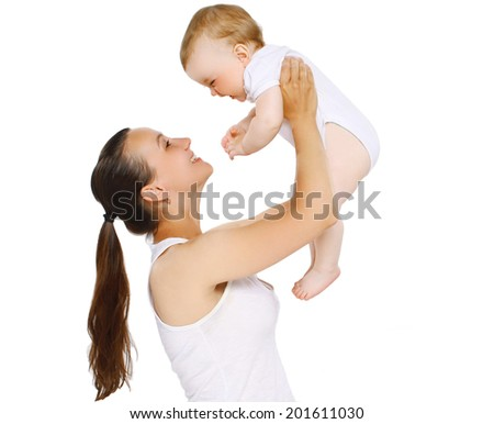 Joyful happy mom and baby, health, fitness, exercise  - concept - stock photo
