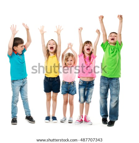 joyful laughing children with hands up in colorful clothes isolated on white background
