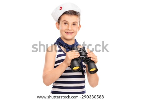 Joyful little boy in a sailor outfit holding a pair of binoculars and looking at the camera isolated on white background - stock photo
