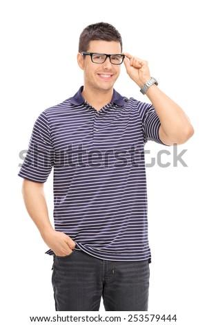 Joyful man with glasses posing isolated on white background - stock photo