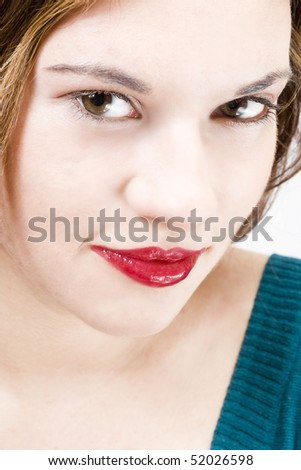 joyful simle of a beautiful young girl with sexy red lips - stock photo