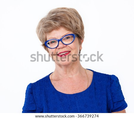 Joyful smiling senior woman portrait, white background