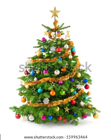 Joyful studio shot of a Christmas tree with colorful ornaments, isolated on white - stock photo