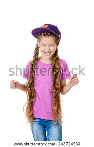 Joyful teen girl wearing casual clothes. Active lifestyle. Studio shot. Isolated over white. - stock photo