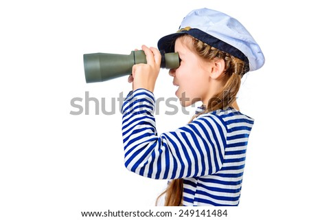 Joyful teen girl wearing sailor's striped vest and marine cap looking through binoculars. Studio shot. Isolated over white. - stock photo