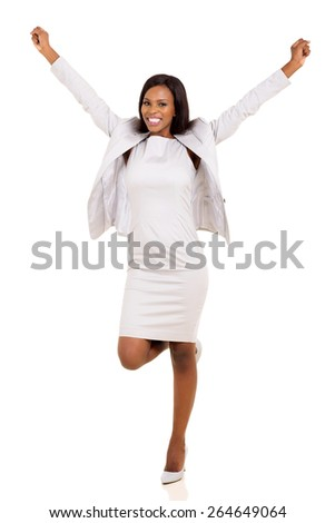 joyful young african american businesswoman arms up isolated on white - stock photo