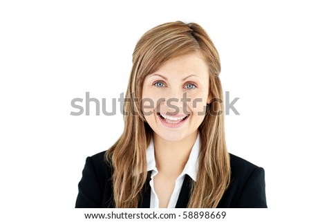 Joyful young businesswoman smiling at the camera against white background