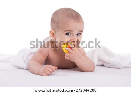 Joyfull baby child after bath time isoalted - stock photo