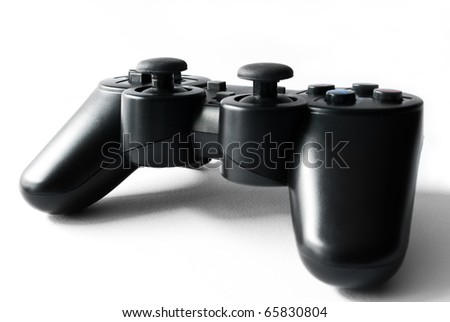 joypad on white background, time for videogames - stock photo