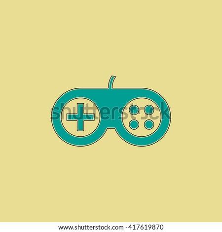 Joystick. Grren simple flat symbol with black stroke over yellow background - stock photo