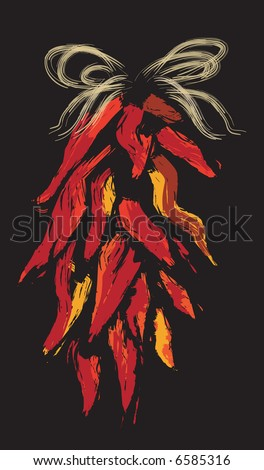 JPEG Chile Ristras Decoration, Hanging Bunch of Chiles, Chilies,WoodCut Style - stock photo