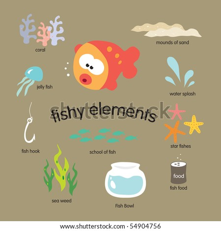 JPEG Fishy Elements Set