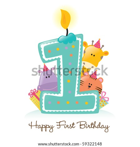 Jpeg Happy First Birthday Candle and Animals Isolated - stock photo