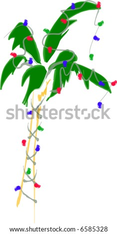 JPEG Holiday Christmas Palm Tree decorated with Lights - stock photo