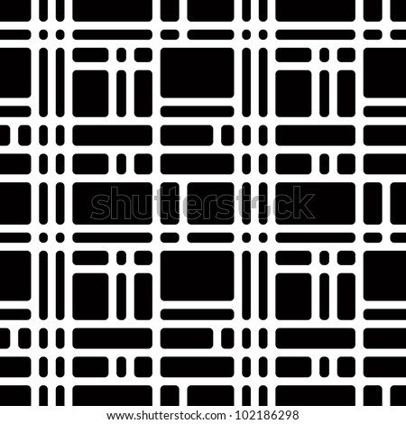 Jpeg illustration from vector file: Rounded squares black and white seamless pattern. Geometric wallpaper or website background with optical illusion of grey dots. - stock photo