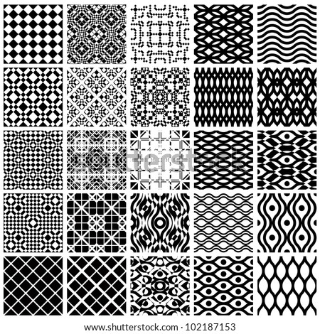 Jpeg illustration from vector file: Set of monochrome geometric seamless patterns. Backgrounds collection.