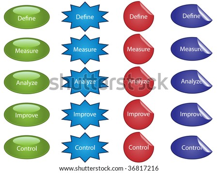 Jpeg illustration of buttons and stickers used for process improvement. - stock photo