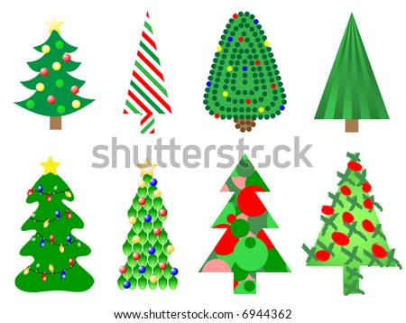 Jpeg illustration of eight different style christmas trees