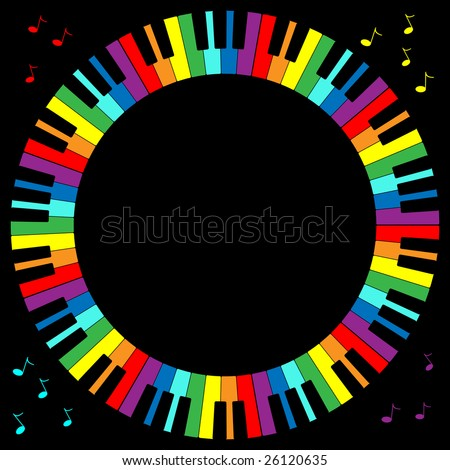 Jpeg illustration of rainbow color piano keyboard in circular frame. - stock photo