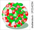 Jpeg illustration of red and green jellybeans. - stock photo