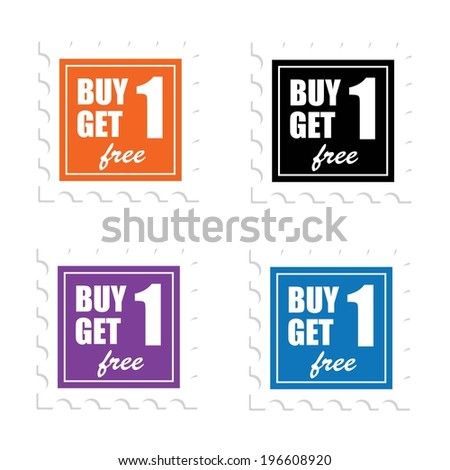 Jpeg : Label or Sticker For Marketing Campaign, Buy 1 Get 1 Free With Colorful Icon. - stock photo