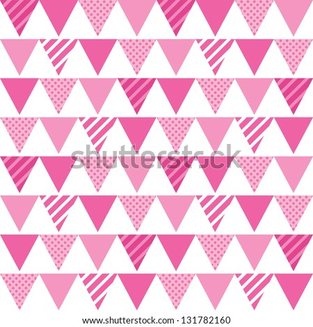 JPEG seamless background with pink bunting. Great for Greeting Cards, gift wrap, surface textures. See my folio for matching patterns in this set and for vector version - set of 4 seamless patterns. - stock photo
